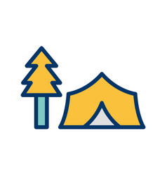 Tent with trees icon vector