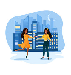 two dancing woman with curly hair in yellow dress vector image