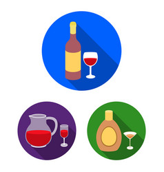 Types of alcohol flat icons in set collection for vector
