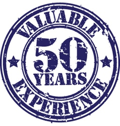 Valuable 50 years of experience rubber stamp vect vector