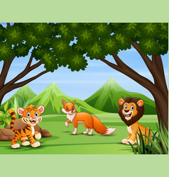 various animals in forest vector image