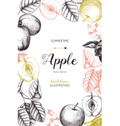 vintage card design with apple fruits sketch vector image