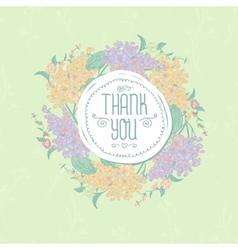 Vintage greeting card with flowers Thank you vector image