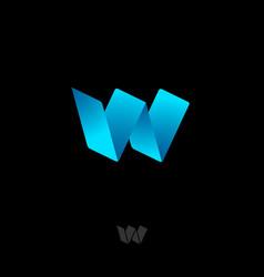w origami logo blue ribbon monogram letter digital vector image