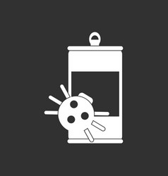 White icon on black background canned and spider vector