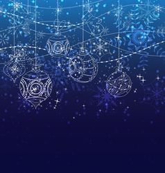 Winter christmas background with balls vector