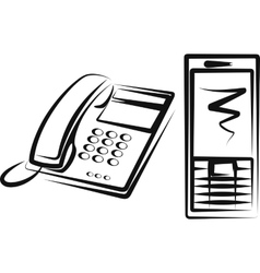 With a different kinds of phone equipment vector
