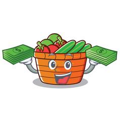 With money fruit basket character cartoon vector