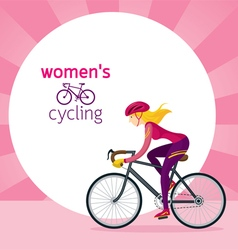 Woman in Protective Sportswear Cycling Road Bicycl vector image