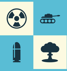 army icons set collection of panzer atom vector image vector image