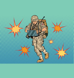 cyber soldier with a computer vector image vector image