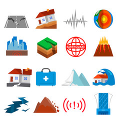 earthquake shaking icon set vector image vector image