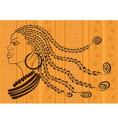 Outline portrait of beautiful African tribal girl vector image
