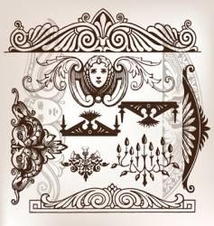 set of vintage frame traced vector image