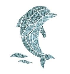 Stylized Dolphin zentangle isolated on vector image