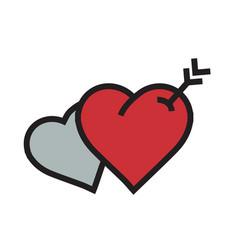 twins heart arrow icon red color vector image