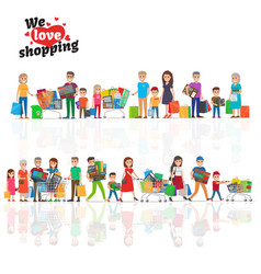 we love shopping concept with two lines of people vector image vector image