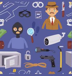 criminal thief cartoon detective character design vector image
