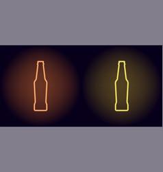 orange and yellow neon beer bottle vector image