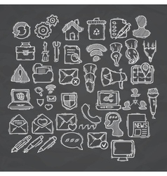 Set of doodle web computer and drawing icons vector image vector image