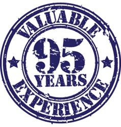 Valuable 95 years of experience rubber stamp vect vector image vector image