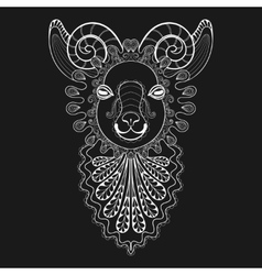 zentangle Ram Head white Goat vector image vector image