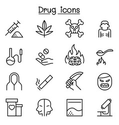 addiction drug icon set in thin line style vector image vector image