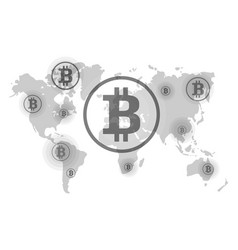 bitcoin on world map points of reception vector image vector image