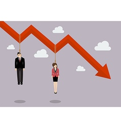 Business people hang on a graph down vector