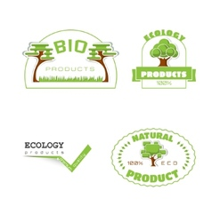 Ecology 100 percent natural stickers logos vector image