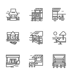 Flat line bungalow icons vector image vector image