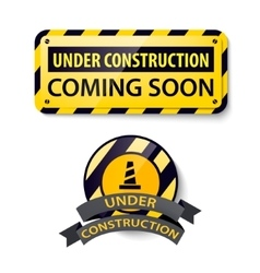 set of 3d shiny Under Construction and vector image
