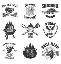 set of steak house labels bbq butcher tools bull vector image vector image