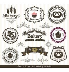 set of vintage retro bakery labels vector image vector image