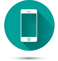 Smartphone white icon on green background with vector image