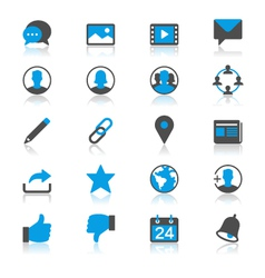 Social network flat with reflection icons vector image vector image