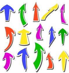 arrows stickers different colors and shapes vector image