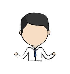 Avatar businessman line cartoon with formal vector