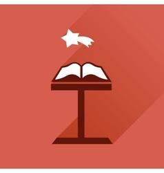 Flat icon with long shadow holy bible vector