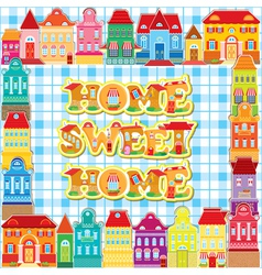 Frame with decorative colorful houses vector image