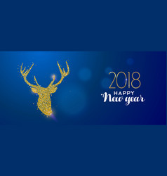 Happy new year 2018 gold glitter reindeer card vector