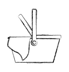 picnic basket icon in monochrome blurred vector image