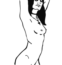 Sketch of naked woman torso vector image
