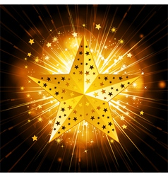 sparkling gold christmas star vector image vector image