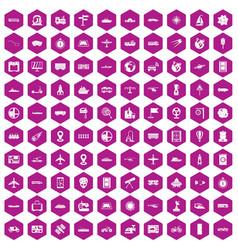 100 technology icons hexagon violet vector