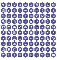 100 victory icons hexagon purple vector