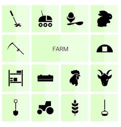 14 farm icons vector image