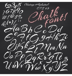 alphabet Chalk font on blackboard vector image