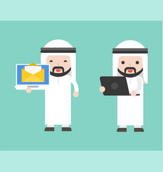 arab businessman and laptop ready to use character vector image