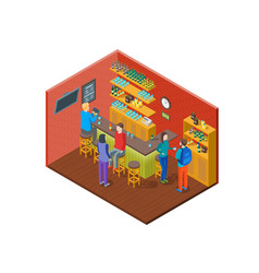 bar drinking interior with furniture isometric vector image